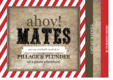 Rustic Red Stripe Pirate Birthday Invitation