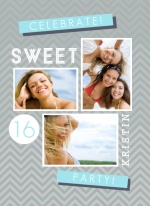 Gray and Blue Modern Sweet Sixteen Invitation