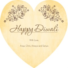 Linen and Floral Antique Diwali Greeting Card