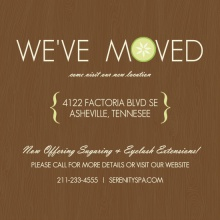 Woodgrain Cucumber Spa Moving Announcement