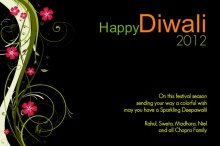 Black and Pink Floral Diwali Greeting Card