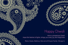 Joyful Blue Paisley Diwali Greetings