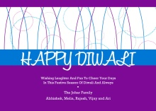 Geometric Purple and Blue Diwali Card
