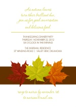 Green Orange and Red Simple Leaves Thanksgiving Invitation
