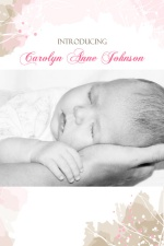 Pink Watercolor Photo Baby Announcement