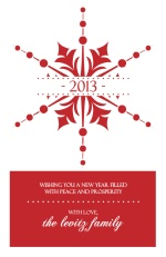 Elegant Red Snowflake New Year Card