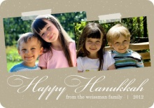 Taupe Classic Hanukkah Photo Card