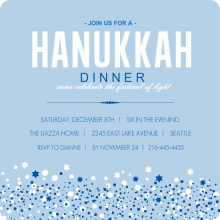 Blue Hanukkah Dinner Invitation